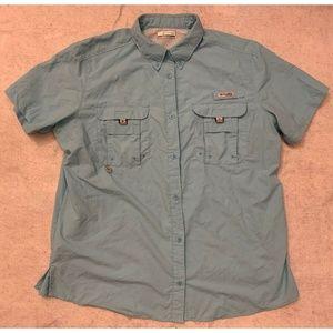 Columbia PFG Mens Fishing Shirt Size XL Blue